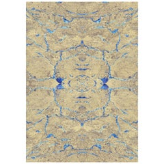 Neutral and Blue Handmade Wool and Silk Rug from Scarab Collection by Gordian