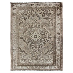 Neutral and Earth Tone Vintage Persian Lilihan Rug with Medallion