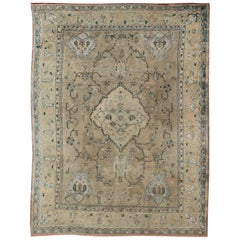 Neutral Antique Oushak Carpet in Shades of Teal, Green, Khaki, Taupe and Butter