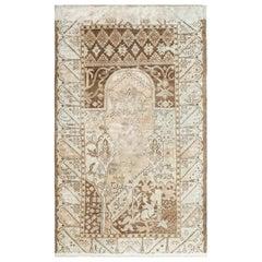 Neutral Antique Turkish Ghiordes Oushak Prayer Rug