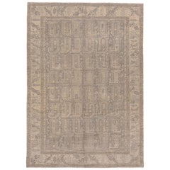 Neutral Antique Turkish Sivas Rug, Light Gray Field, Paisley All-Over Design