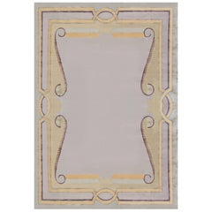 Neutral Beaux Arts Deco Rug after Andre Arbus