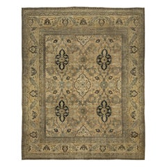 Neutral Brown Antique Persian Meshad Handwoven Wool Rug