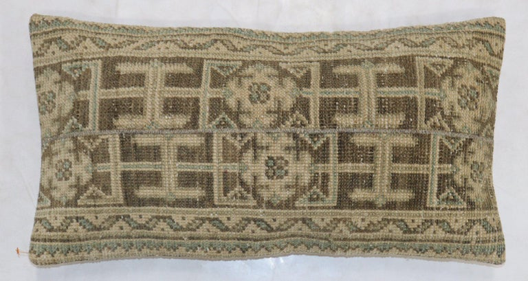 Hand-Knotted Neutral Brown Green Tan Wool Turkish Rug Pillow For Sale