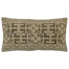 Neutral Brown Green Tan Wool Turkish Rug Pillow