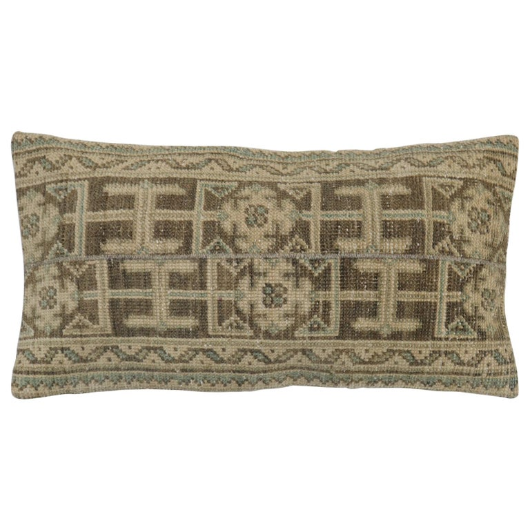 Neutral Brown Green Tan Wool Turkish Rug Pillow For Sale