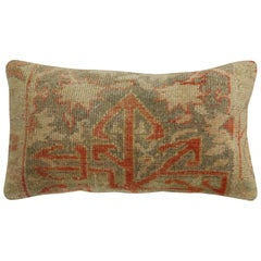 Neutral Brown Terracotta Wool Turkish Rug Pillow