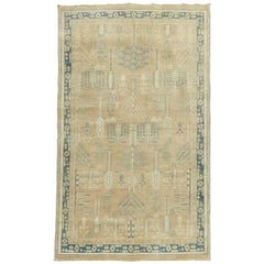 Neutral Camel Green Turkish Tree of Life Rug