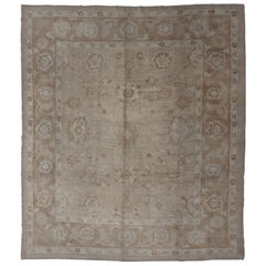 Neutral Colors Vintage Angora Oushak Turkish Rug in Light Brown and Cream