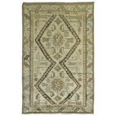 Neutral Cream Sage Dark Brown Cream Antique Hand Knotted Karabagh Rug