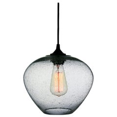 Neutral Gray Contemporary Hand Blown Pendant Lamp in Rustic Finish