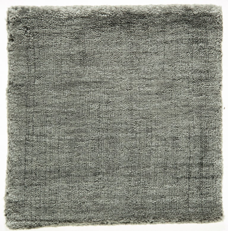 Hand-Woven Neutral Grey Rug Hand-Loomed Bamboo Silk Solid Neutral Rug in Any Custom Size For Sale