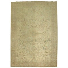 Neutral Hand Knotted Turkish Rug with Formal Design