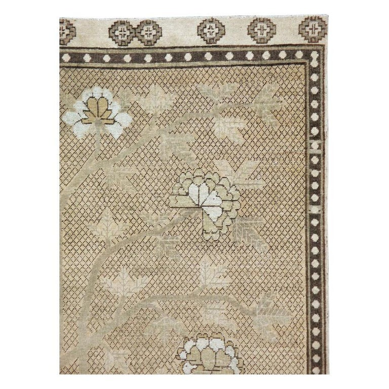 Rustic Neutral Handmade Khotan Accent Rug in Beige and Ivory Earth Tones For Sale