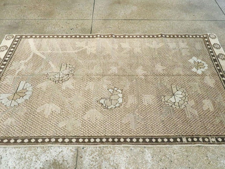 Neutral Handmade Khotan Accent Rug in Beige and Ivory Earth Tones In Good Condition For Sale In New York, NY