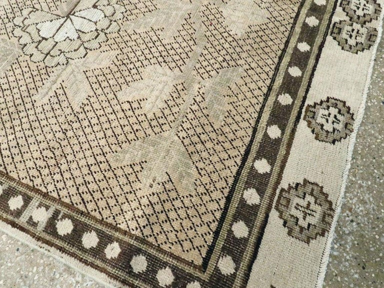 20th Century Neutral Handmade Khotan Accent Rug in Beige and Ivory Earth Tones For Sale