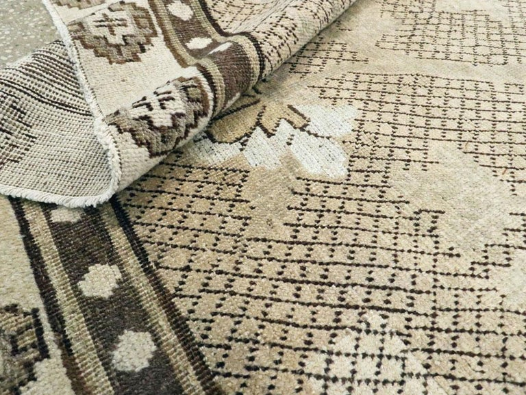 Wool Neutral Handmade Khotan Accent Rug in Beige and Ivory Earth Tones For Sale