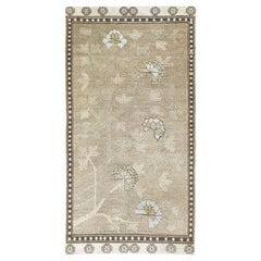 Neutral Handmade Khotan Accent Rug in Beige and Ivory Earth Tones