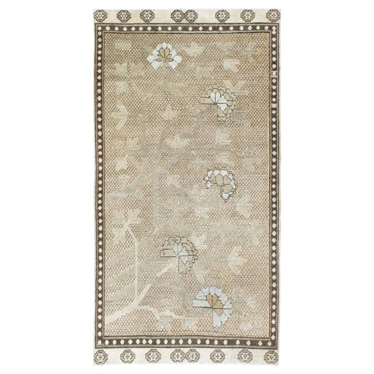 Neutral Handmade Khotan Accent Rug in Beige and Ivory Earth Tones For Sale