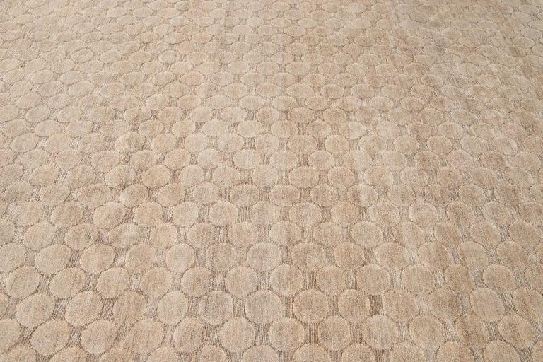 Neutral Modern Textured Handmade Tibetan Wool Rug For Sale 5