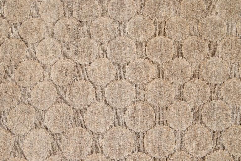 Neutral Modern Textured Handmade Tibetan Wool Rug For Sale 7