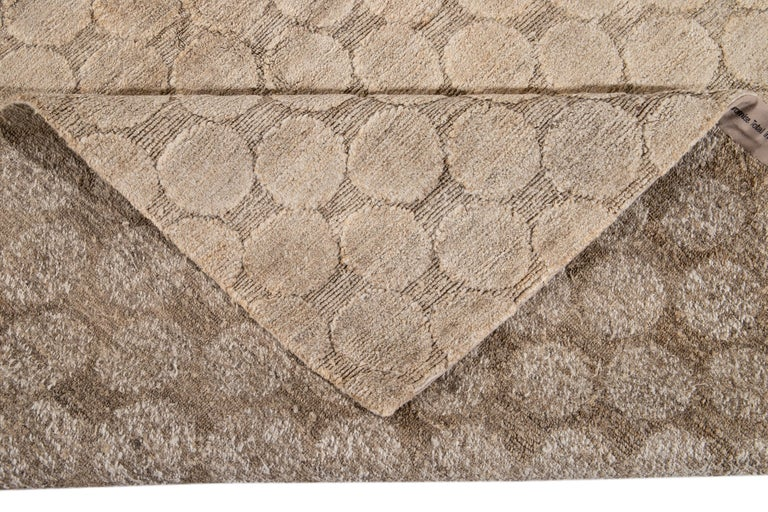 Contemporary Neutral Modern Textured Handmade Tibetan Wool Rug For Sale