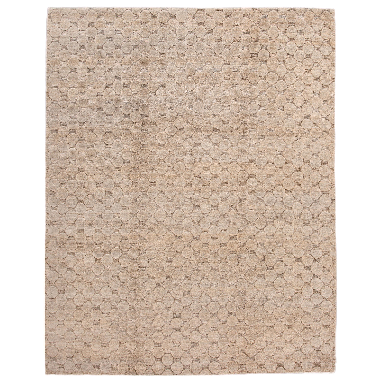 Neutral Modern Textured Handmade Tibetan Wool Rug
