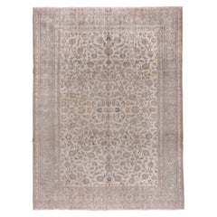 Neutral Persian Kashan Carpet, All-Over Field, Blue & Green Accents