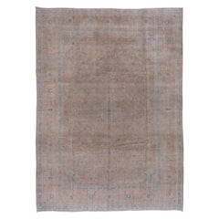 Neutral Persian Kashan Carpet, Blue Borders, Light Brown Palette