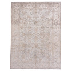 Neutral Persian Tabriz Carpet, Peach and Pink Accents, All-Over Field