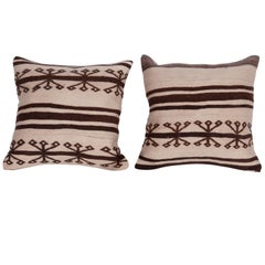 Neutral Pillow Cases Fashioned from a Mid-20th Century Anatolian Kilim