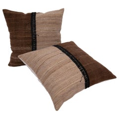 Neutral Pillowcases Made from an Anatolian Vintage Cover, Mid-20th Century
