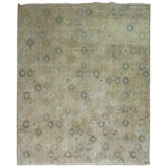 Neutral Shabby Chic Mid-20th Century Turkish Deco Rug