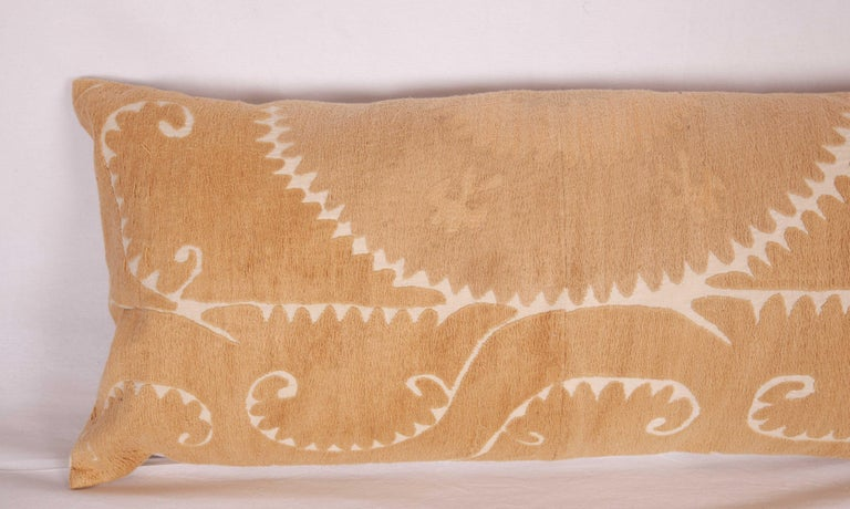 Embroidered Neutral Suzani Lumbar Pillow Case Made from a Mid-20th Century Suzani For Sale