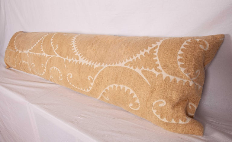 Cotton Neutral Suzani Lumbar Pillow Case Made from a Mid-20th Century Suzani For Sale