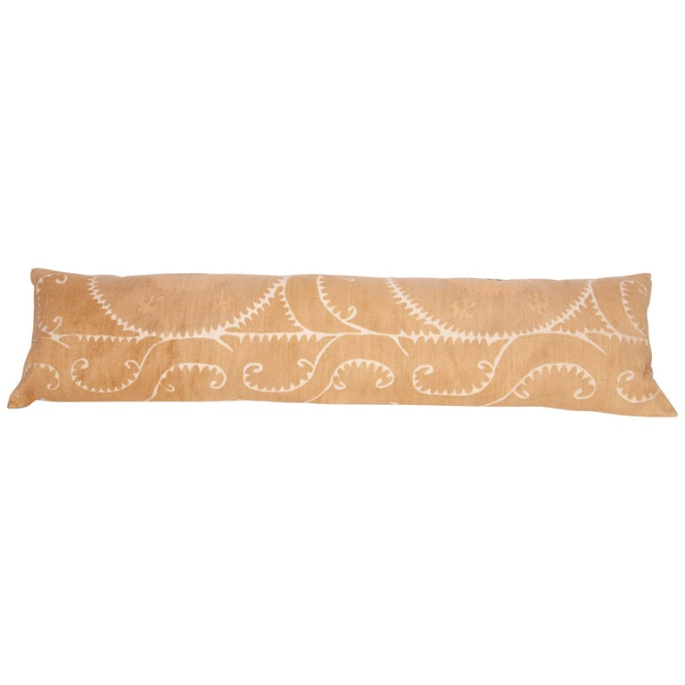 Neutral Suzani Lumbar Pillow Case Made from a Mid-20th Century Suzani For Sale