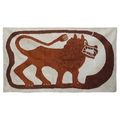 Neutral Tone Folk Art Scandinavian Lion Tapestry or Rug