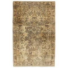 Neutral Tone Vintage Persian Lilihan Rug with Ornate Garden Center Field