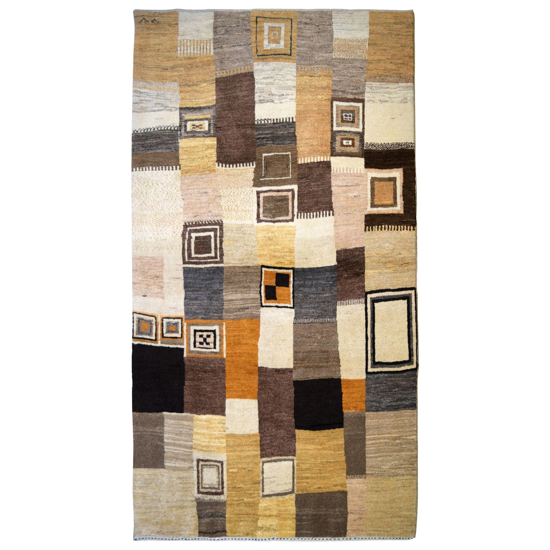 Neutral-Toned Cream and Brown Wool Persian Luri Gabbeh Carpet