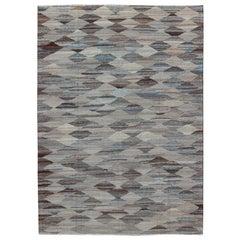 Neutrals, Charcoal, Gray and Brown Diamond Afghan Modern Kilim Geometric Design