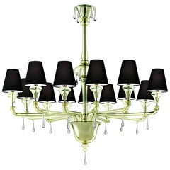 Nevada 5549 13 Chandelier in Glass with Black Shade, by Barovier&Toso