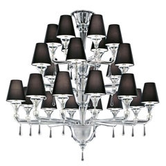 Nevada 5549 24 Chandelier in Glass with Black Shade, by Barovier&Toso