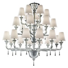 Nevada 5549 24 Chandelier in Glass with White Shade, by Barovier&Toso