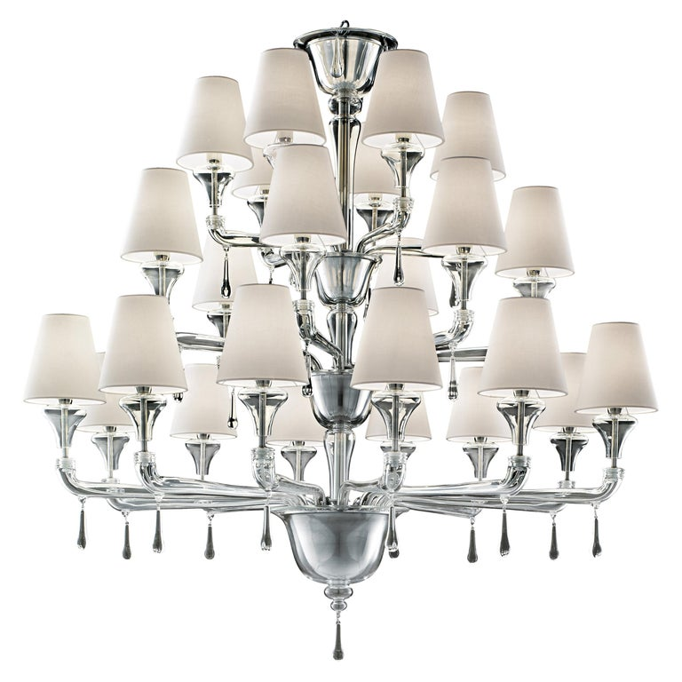 For Sale: Clear (Crystal_CC) Nevada 5549 24 Chandelier in Glass with White Shade, by Barovier&Toso