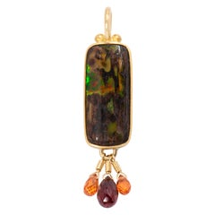 Nevada Wood Opal Pendant with Garnet and Sapphire Briolettes in 22k and 18k Gold