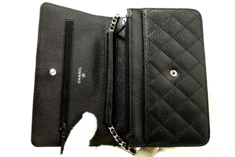 Never Used Chanel Caviar Wallet On Chain Woc Black Shoulder Bag For 7
