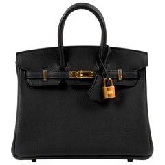 Never Used Hermes Birkin 25 Black Togo GHW
