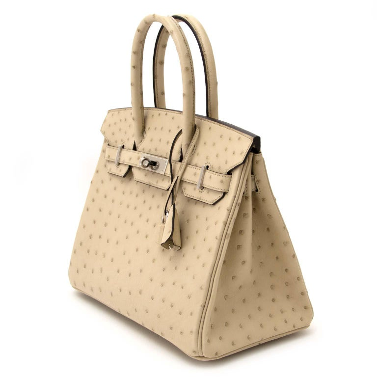 fe4f12f6338 Never Used Hermes Birkin 30cm Parchemin Ostrich PHW For Sale. Very hard to  find !!! Hermes Birkin 30cm Parchemin Ostrich PHW One of our