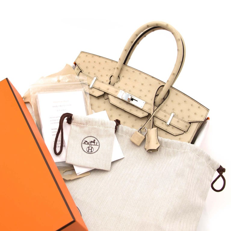 Beige Never Used  Hermes Birkin 30cm Parchemin Ostrich PHW For Sale