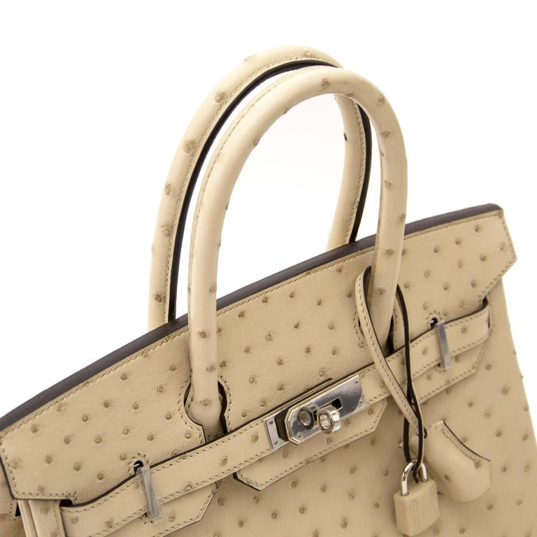 Never Used  Hermes Birkin 30cm Parchemin Ostrich PHW In New Condition For Sale In Antwerp, BE